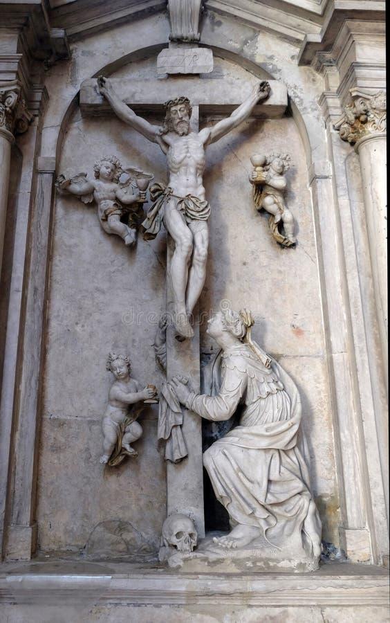 圣玛丽从良的妓女的法坛在Bronnbach在Reicholzheim,德国Cistercian修道院里  库存图片