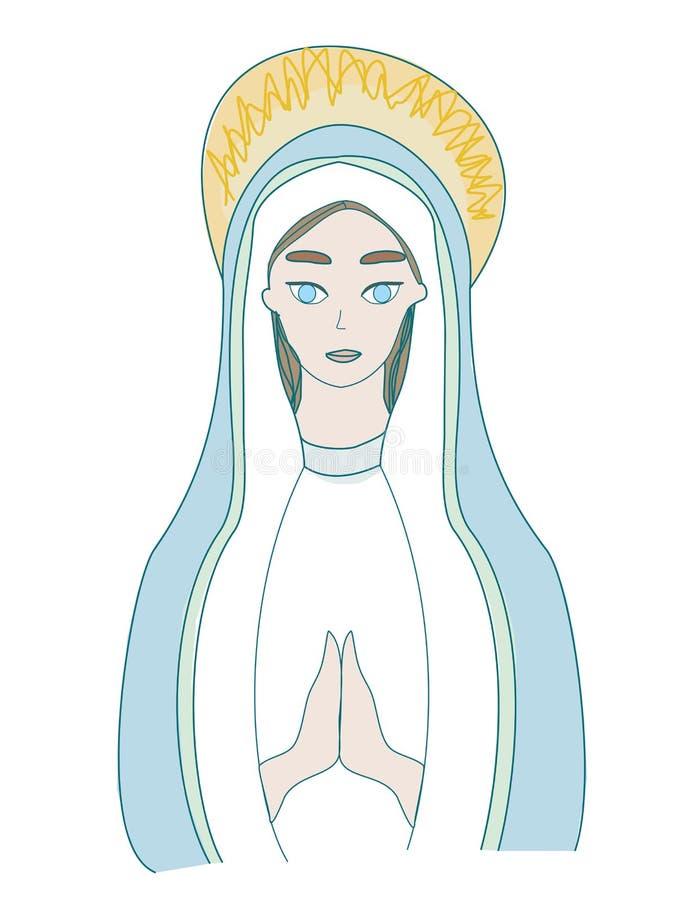 圣玛丽图标,独立插图 向量例证
