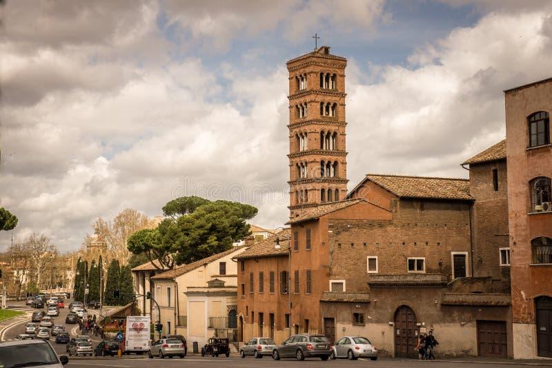 圣玛丽大教堂在Cosmedin 免版税库存图片