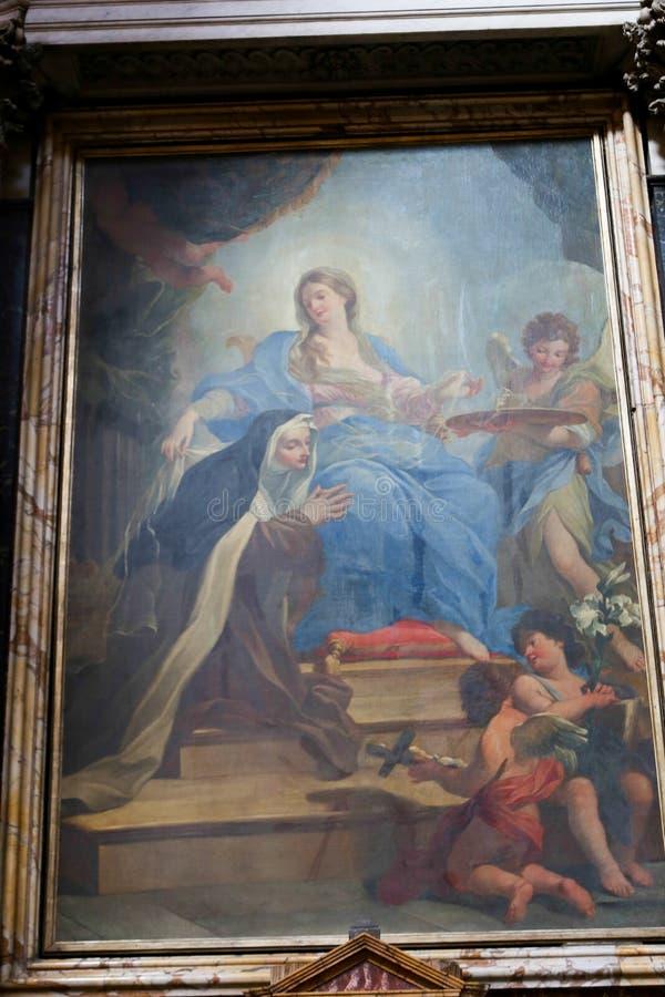 圣玛丽大教堂-罗马少校绘画  图库摄影