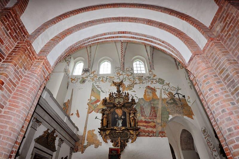 圣玛丽的教会,罗斯托克,内部,仪式法坛 库存照片