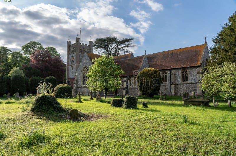圣玛丽维尔京教会在Hambleden村庄  库存照片