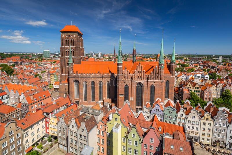 圣玛丽& x27的建筑学;s大教堂在格但斯克,波兰 免版税库存照片
