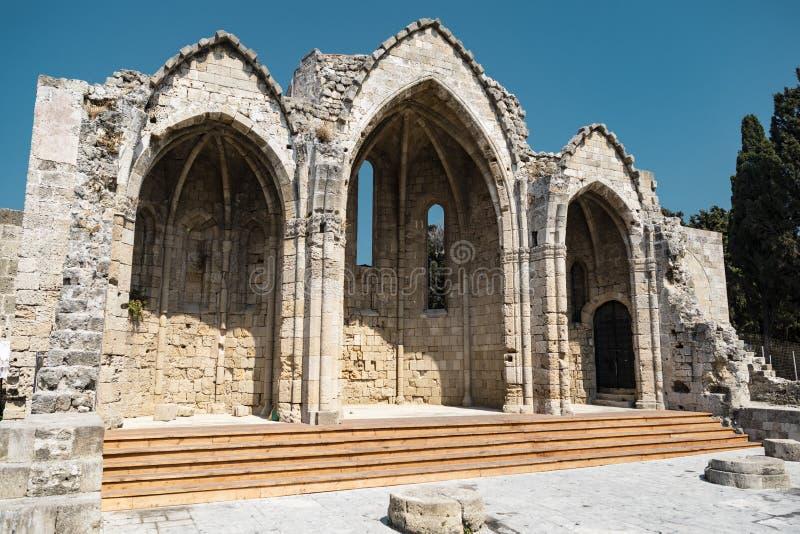 圣玛丽du布尔格In罗得岛教会  免版税图库摄影