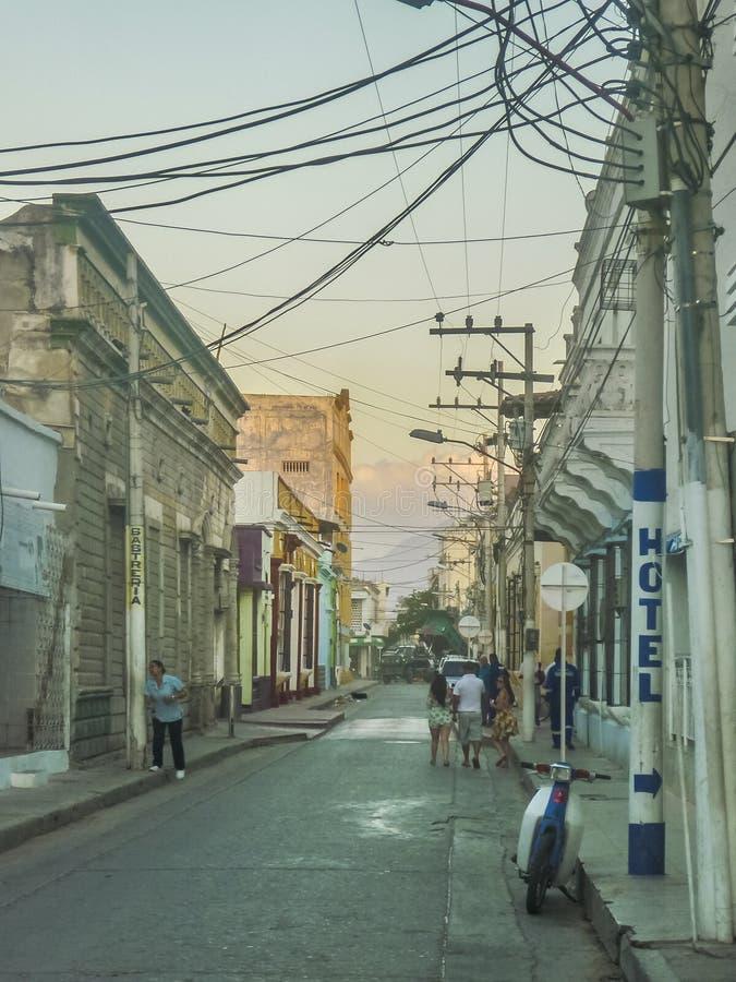 圣玛尔塔哥伦比亚的外部的贫穷的区域 免版税库存照片