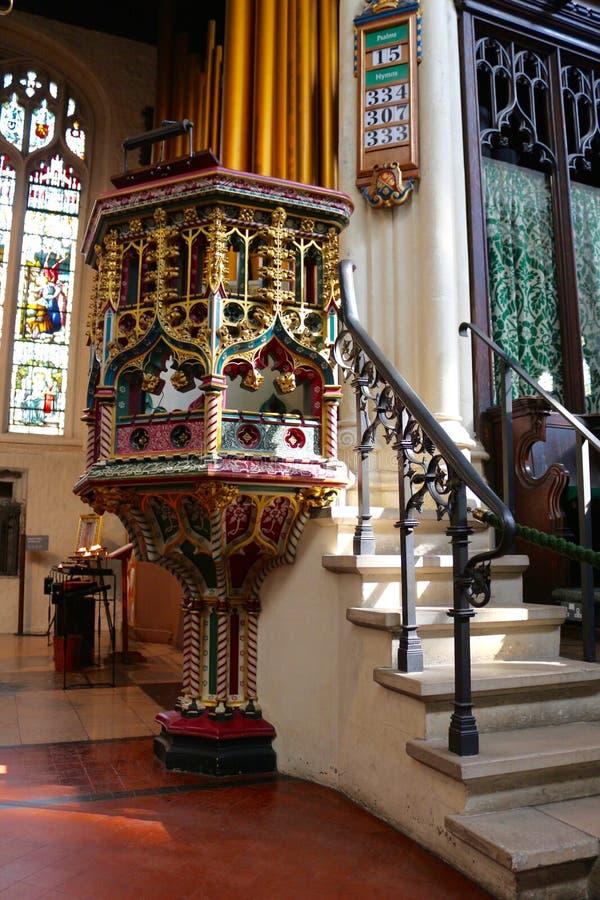 圣玛格丽特的教会,西敏寺内部  图库摄影