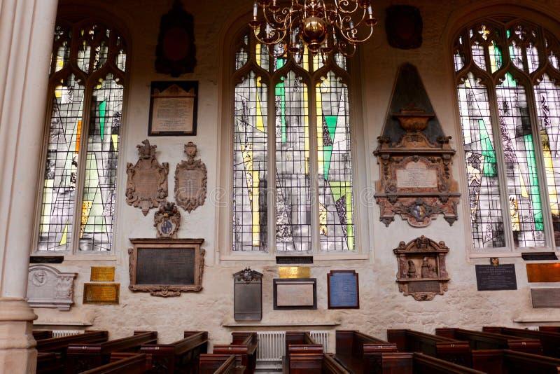 圣玛格丽特的教会,西敏寺内部  免版税库存照片