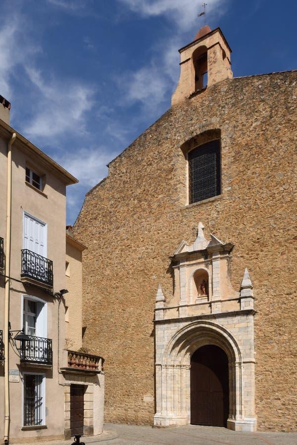 圣皮埃尔, Ceret,比利牛斯Orientales,朗格多克Ro教会  免版税图库摄影