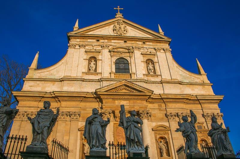 圣皮特圣徒・彼得和保罗巴洛克式的教会门面在克拉科夫,波兰 库存图片
