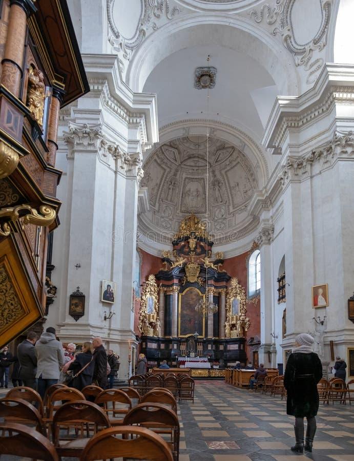 圣皮特圣徒・彼得和圣保罗,克拉科夫,波兰教会内部  免版税库存照片