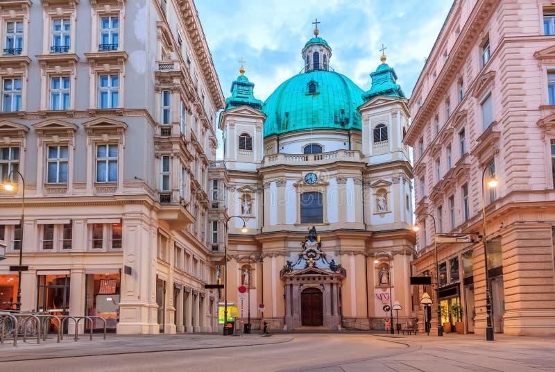 圣皮特圣徒・彼得的教会在维也纳,奥地利,没有人 库存图片