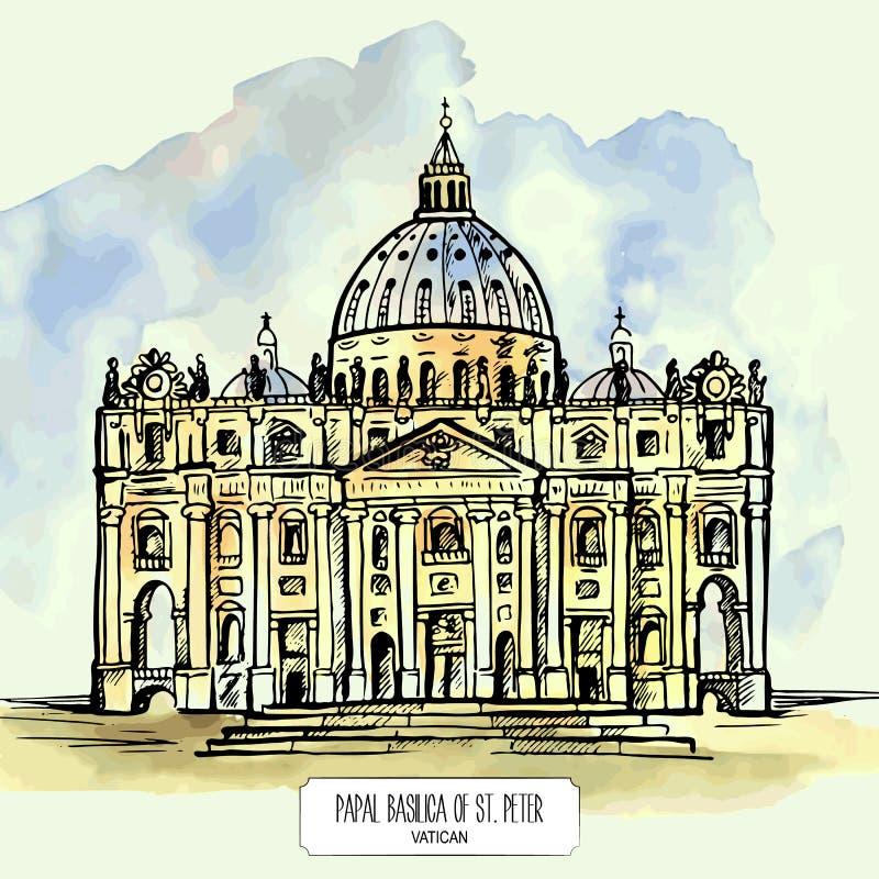圣皮特圣徒・彼得罗马教皇的大教堂在梵蒂冈 向量例证