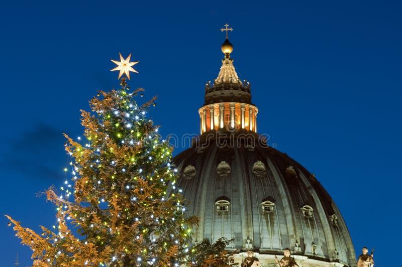 圣皮特的圆顶和圣诞树-接近  库存照片