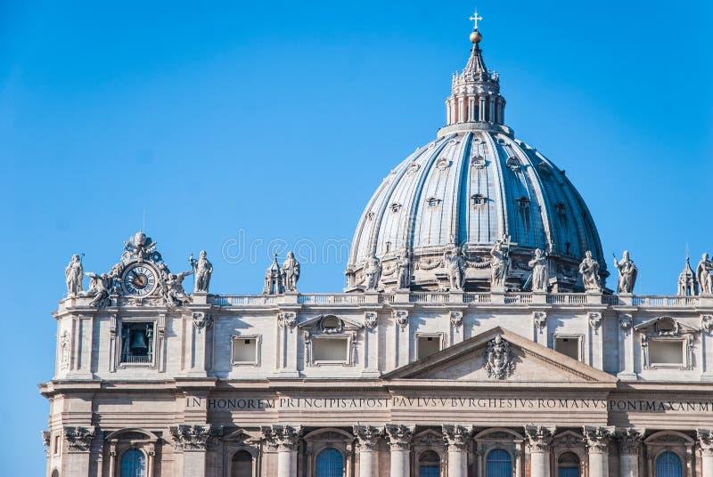 圣皮特的大教堂圆顶,梵蒂冈,罗马,意大利 库存照片