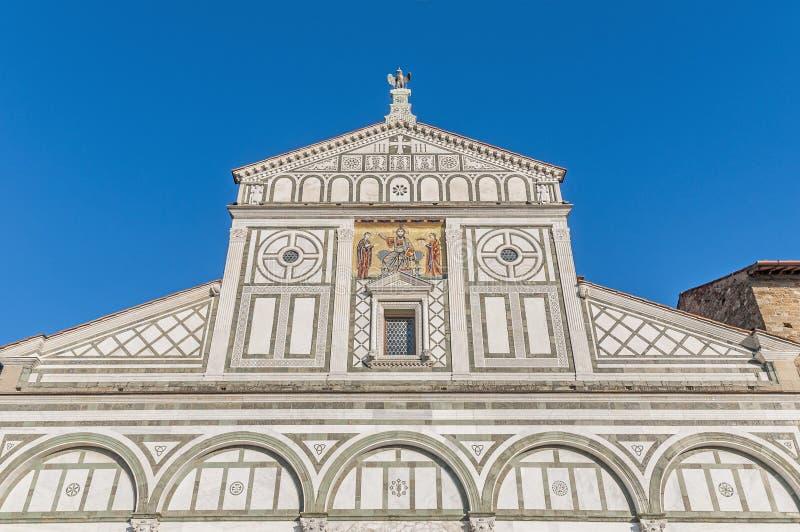 圣米尼亚托Al Monte大教堂在佛罗伦萨,意大利 免版税图库摄影
