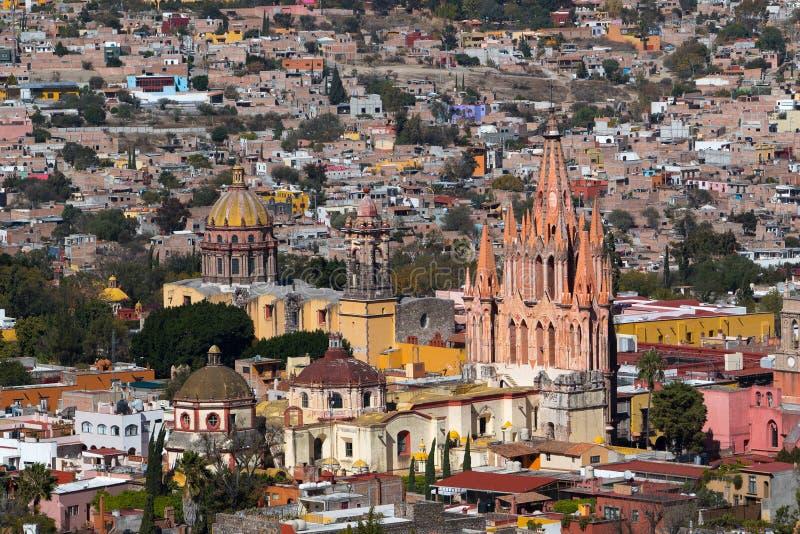 圣米格尔德阿连德的历史的中心的看法从上面 库存照片