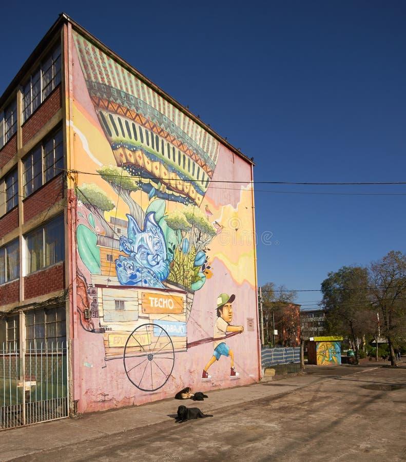 圣米格尔火山壁画  免版税库存照片