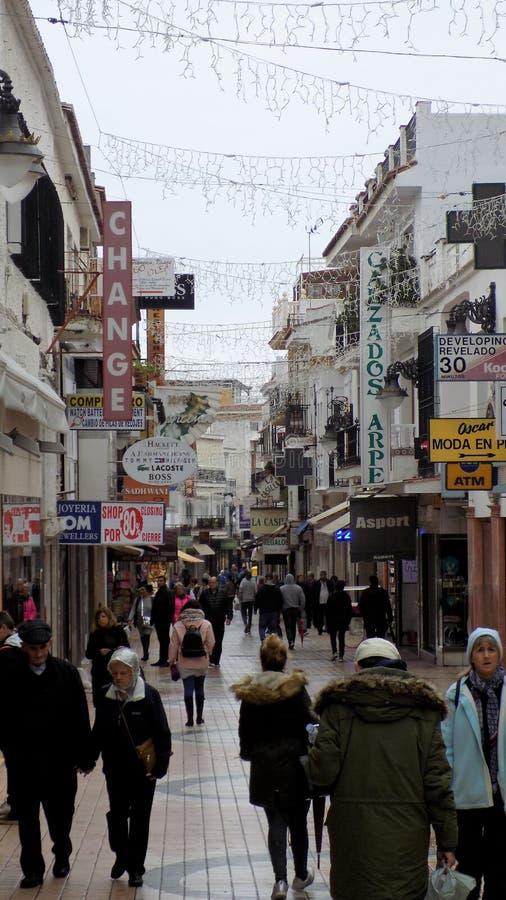 圣米格尔火山街道--托雷莫利诺斯角--马拉加安大路西亚--西班牙 免版税库存照片