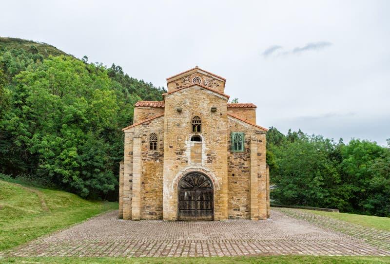 圣米格尔火山de利洛,奥维耶多,阿斯图里亚斯,西班牙教会  库存图片