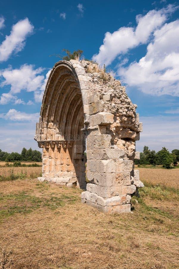 圣米格尔火山de Mazarreros被破坏的中世纪曲拱  免版税库存照片
