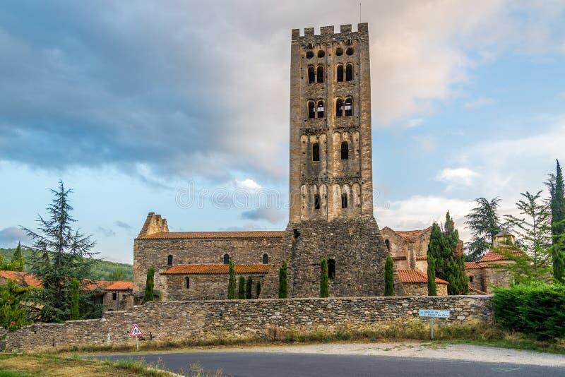 圣米歇尔de Cuxa Abbey在科达莱 库存图片
