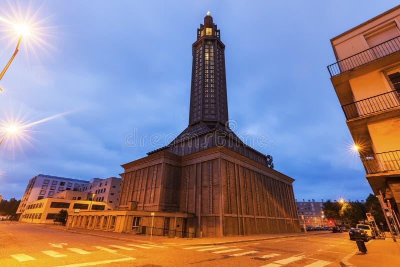 圣约瑟夫教会在勒阿弗尔 库存图片