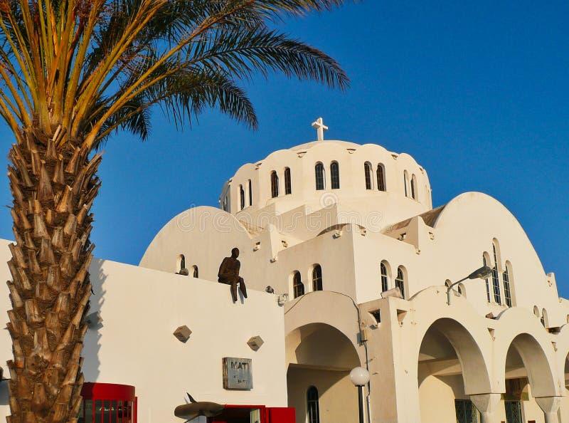 圣约翰大教堂浸礼会教友,锡拉,圣托里尼,希腊 免版税库存照片