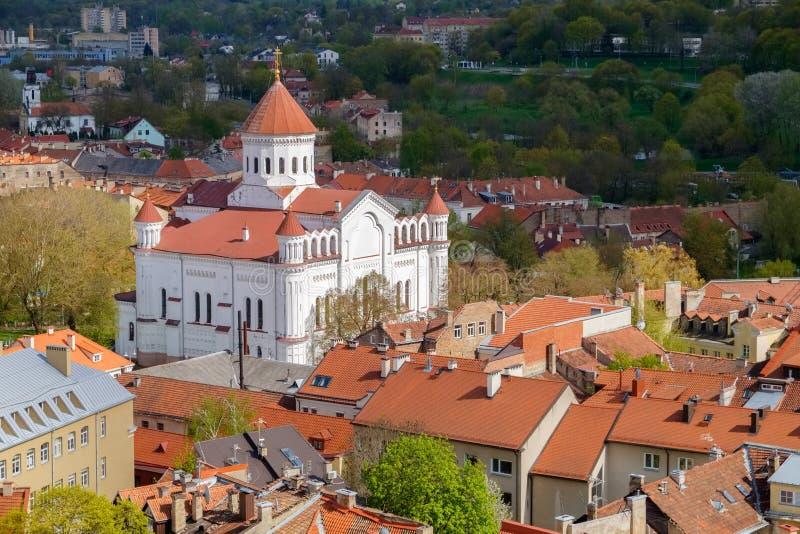 从圣约翰斯钟楼的看法到维尔纽斯老镇 立陶宛 库存照片