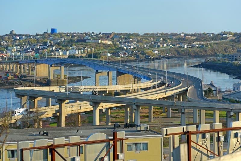 圣约翰港口桥梁,新不伦瑞克,加拿大 免版税库存照片