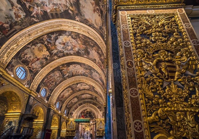 圣约翰` s共同大教堂,瓦莱塔,马耳他内部  图库摄影