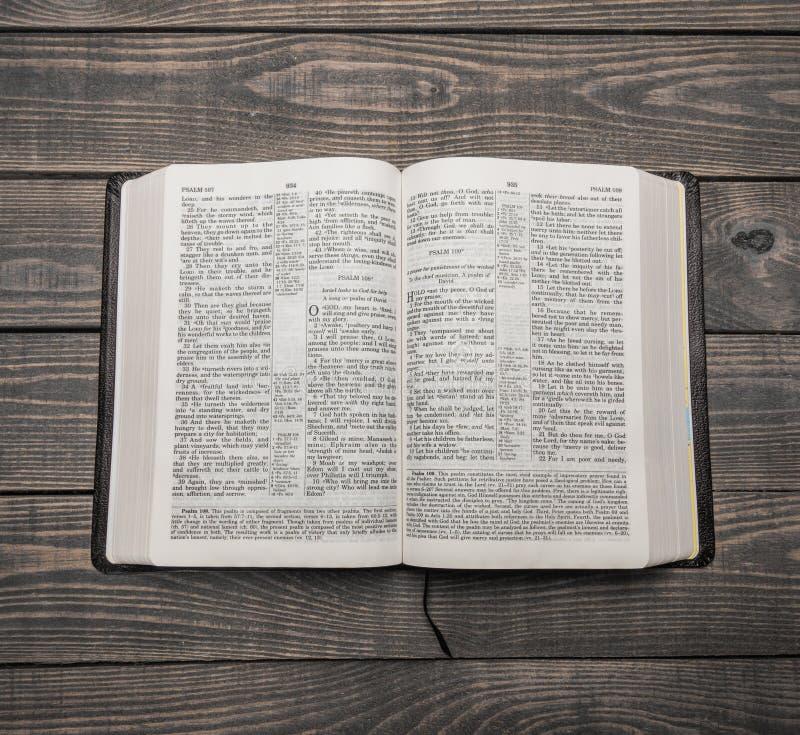 圣经书,顶视图 库存图片