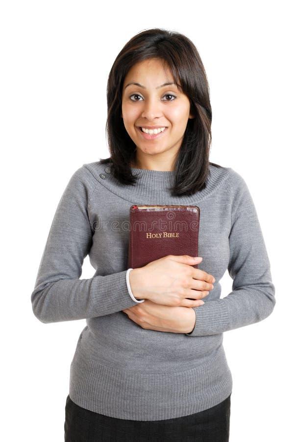 圣经显示妇女年轻人的承诺藏品 免版税图库摄影