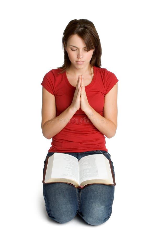 圣经祈祷的妇女 库存照片