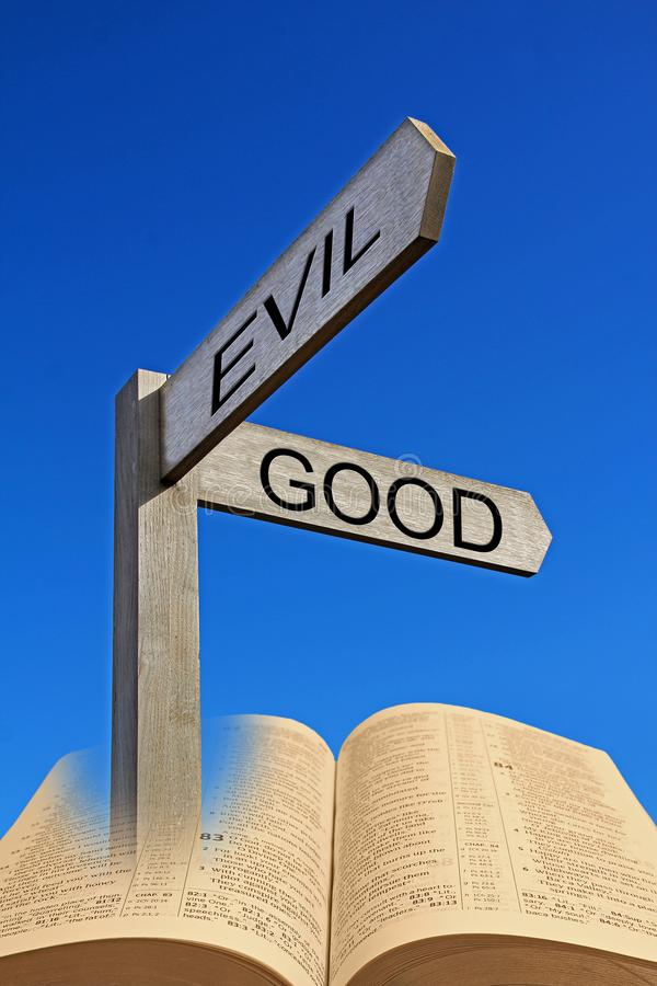 圣经精神方向箭头标志耶和华对idolsgood对罪恶 免版税图库摄影