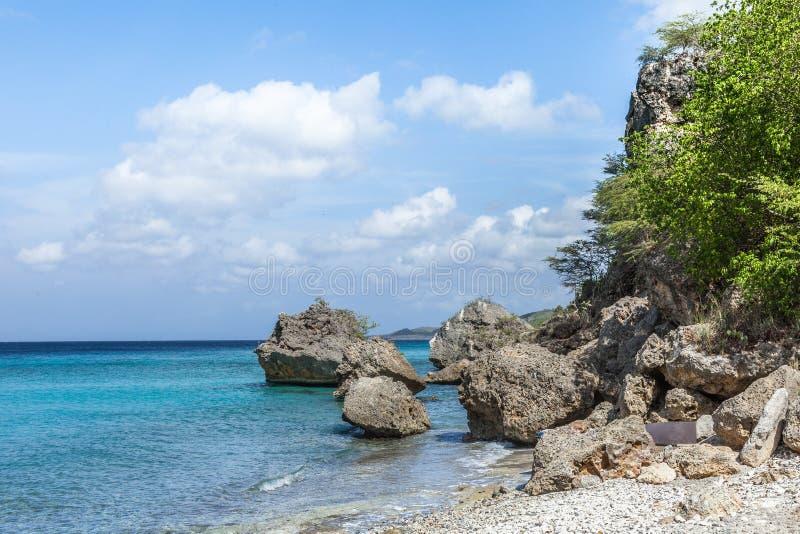 圣胡安一个石海滩 库存照片