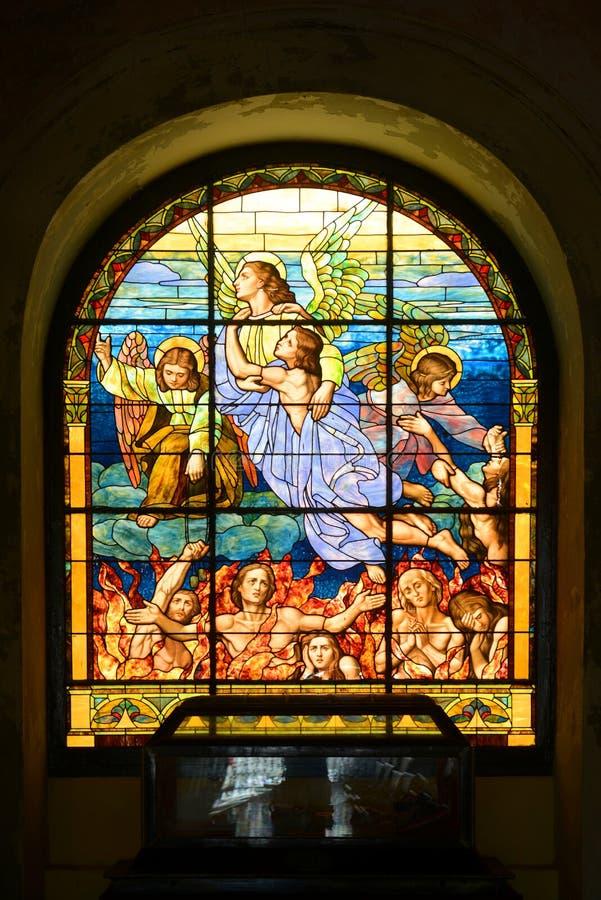 圣胡安包蒂斯塔,圣胡安大教堂彩色玻璃  库存图片