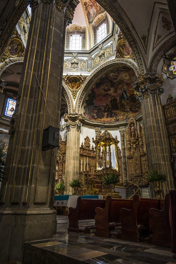 圣胡安包蒂斯塔,科约阿坎区,墨西哥城,墨西哥教区  免版税库存图片