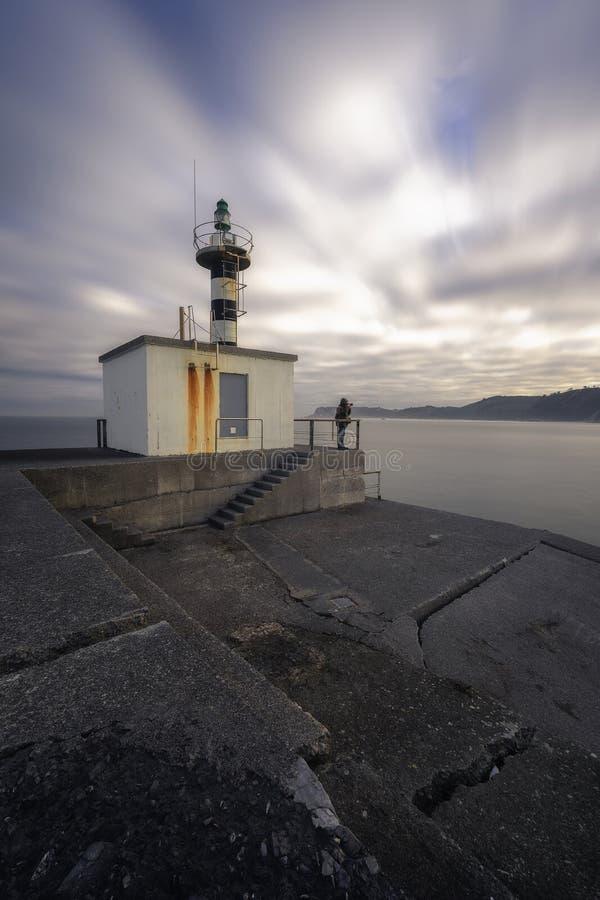 圣胡安在河的入口的de涅瓦灯塔  免版税库存图片