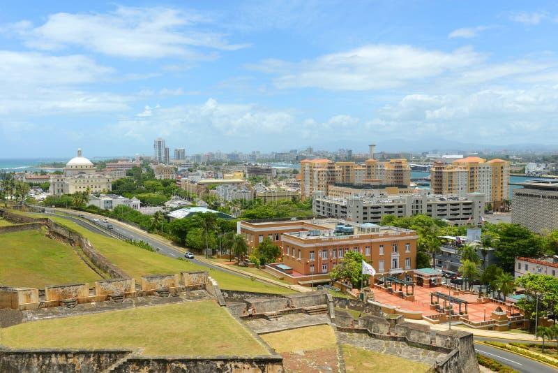 圣胡安市地平线,波多黎各 库存照片