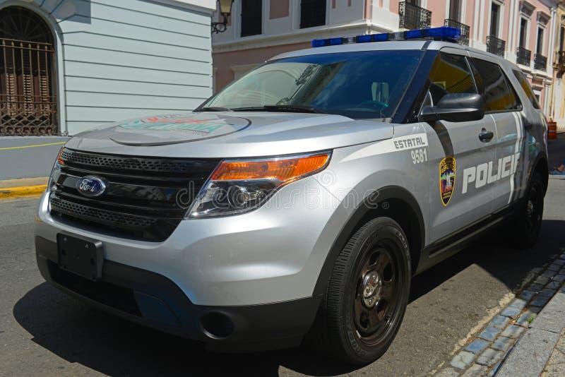 圣胡安警车在圣胡安,波多黎各 库存图片