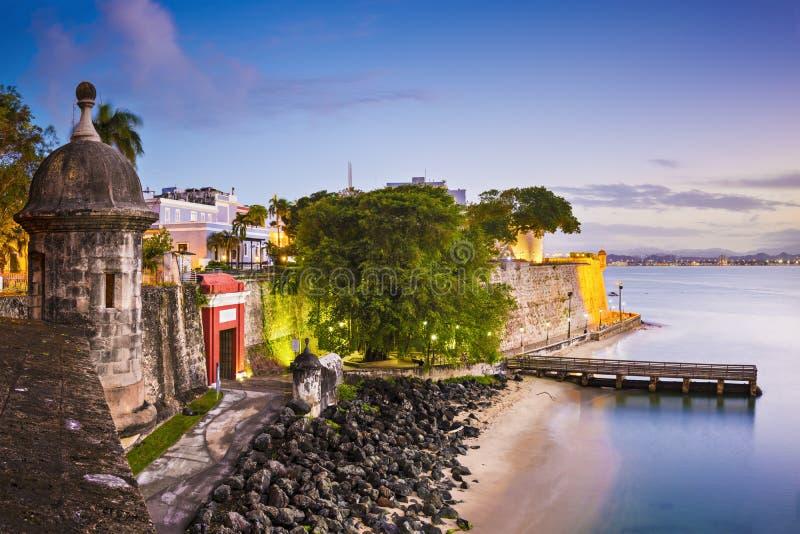 圣胡安,波多黎各海岸 库存照片