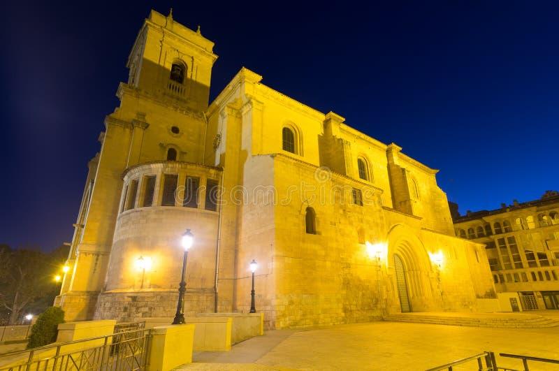 圣胡安de阿尔瓦萨特广角射击在晚上 图库摄影