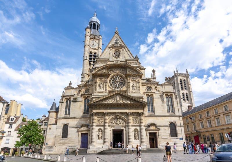 圣艾蒂安教堂教会在巴黎,巴黎 免版税库存图片