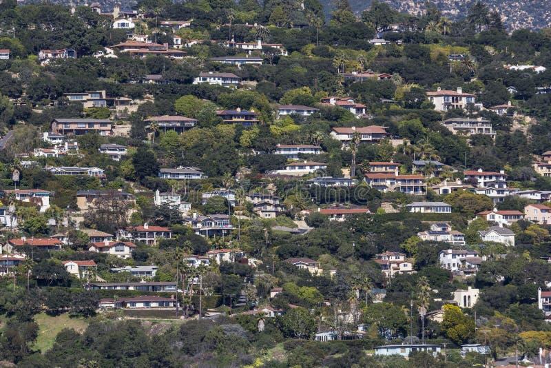 圣芭卜拉加利福尼亚山坡家 库存图片