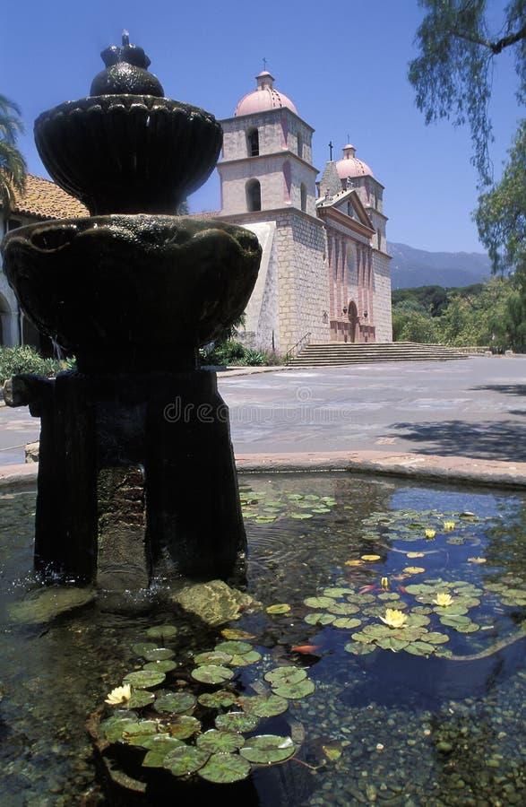 圣芭卜拉,加利福尼亚的老使命 免版税库存照片