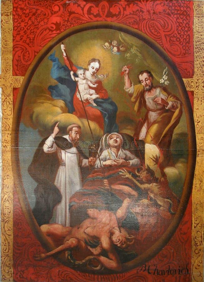 圣若瑟愉快的死亡的受护神法坛在圣母玛丽亚诞生教会里在Svetice,克罗地亚 免版税库存图片