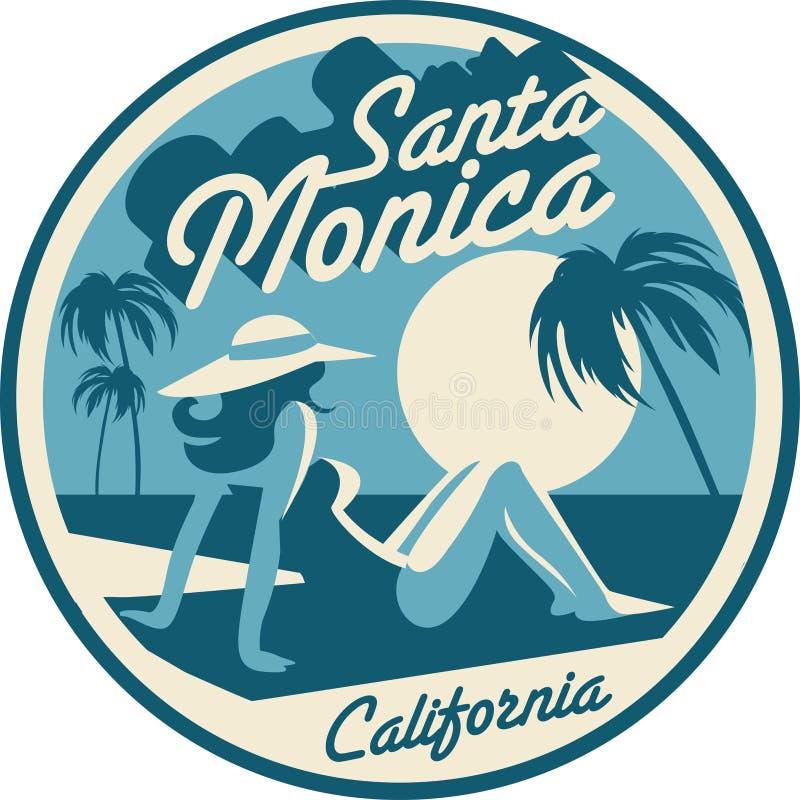 圣莫尼卡加利福尼亚明信片 向量例证