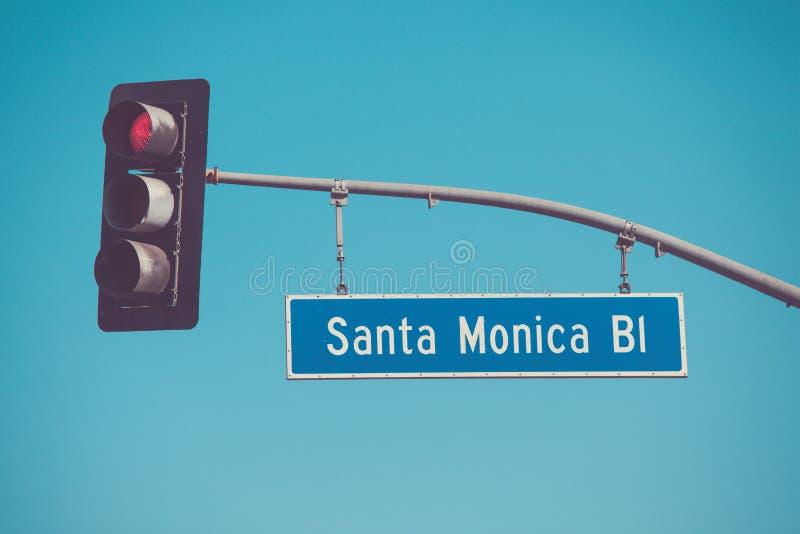 圣莫尼卡大道路标 免版税库存照片