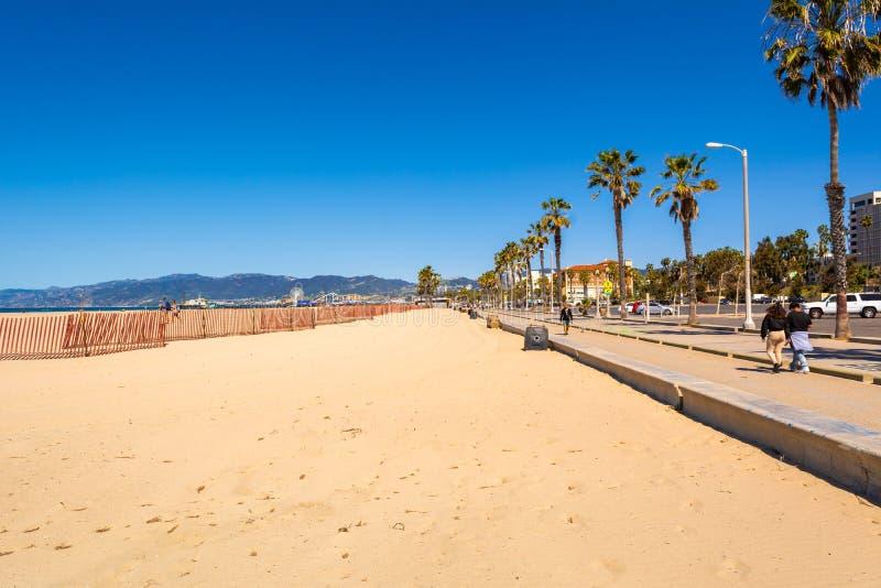 圣莫尼卡海滩在洛杉矶 免版税图库摄影