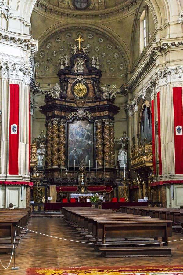 圣菲利波Neri教会的内部在都灵 免版税库存图片